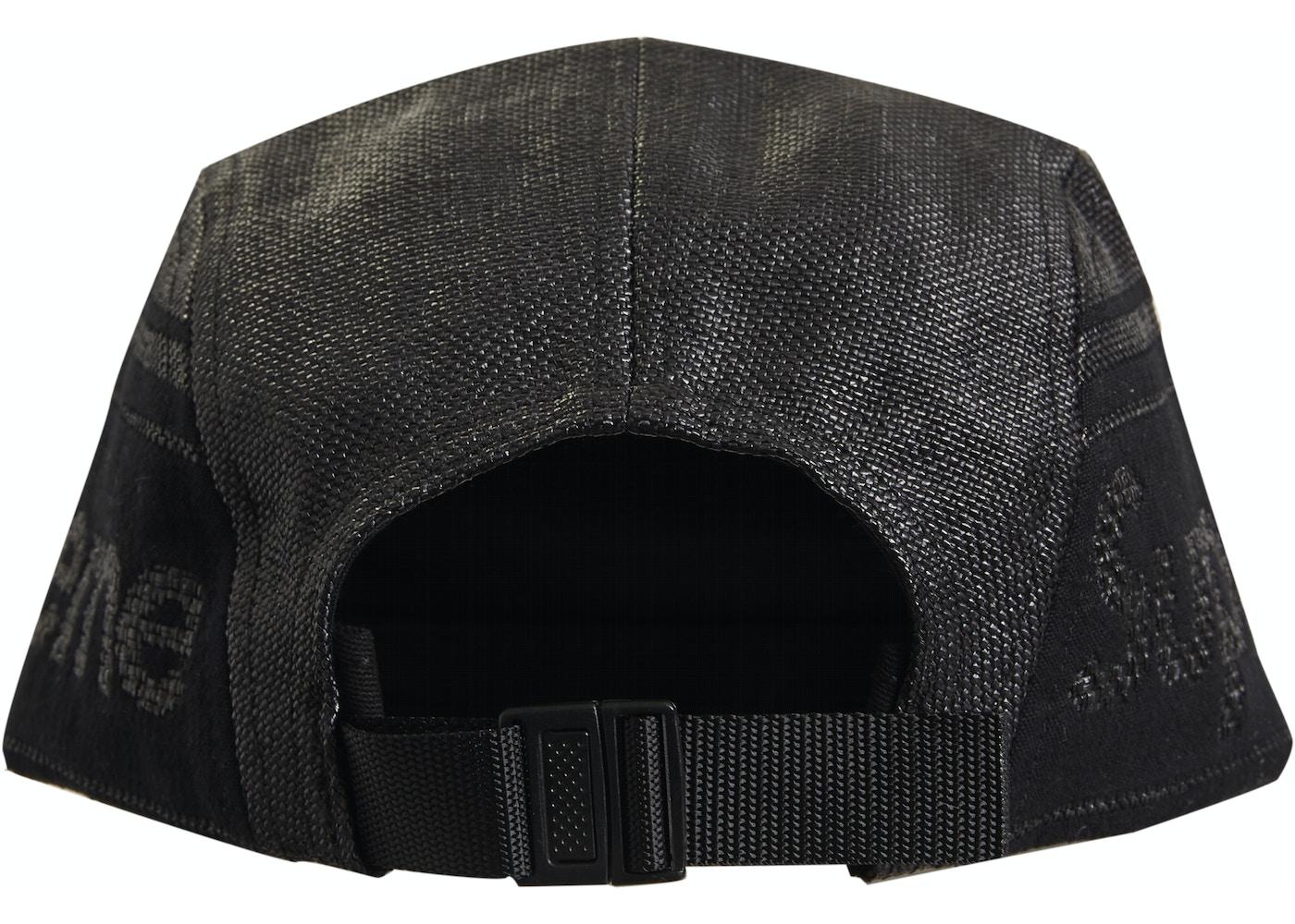 5134a9c6b Supreme Raffia Woven Logo Camp Cap Black