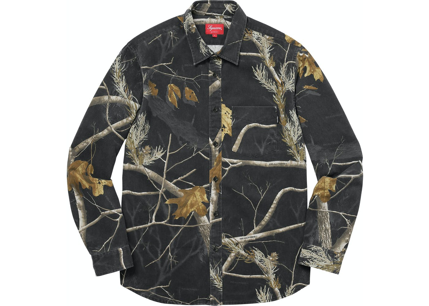 supreme realtree camo flannel shirt black