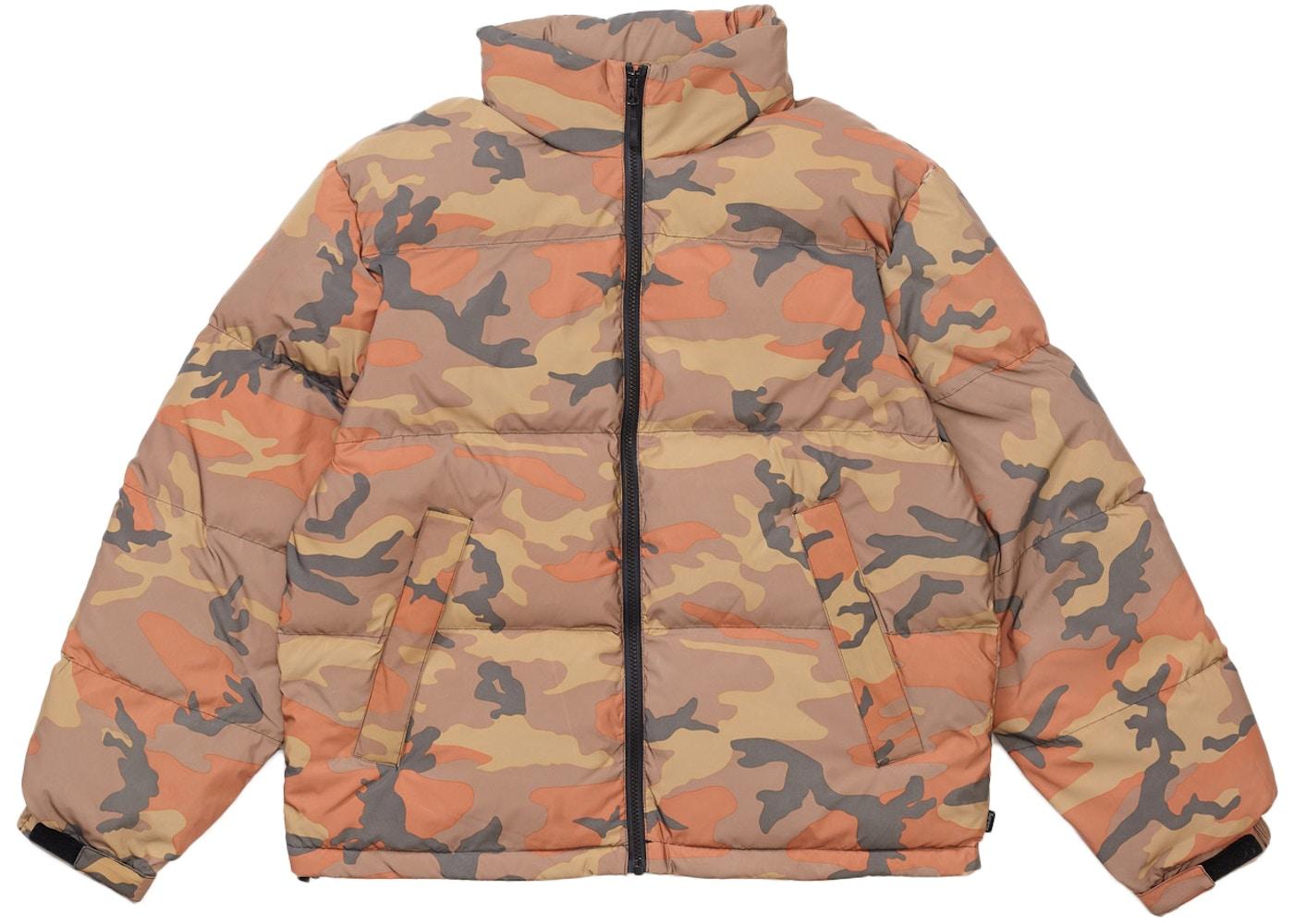 unique design on feet at cute cheap Supreme Reflective Camo Down Jacket Orange Camo