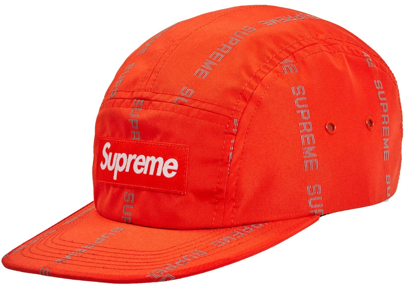 030332ce0d1 HypeAnalyzer · Supreme Reflective Text Camp Cap Orange