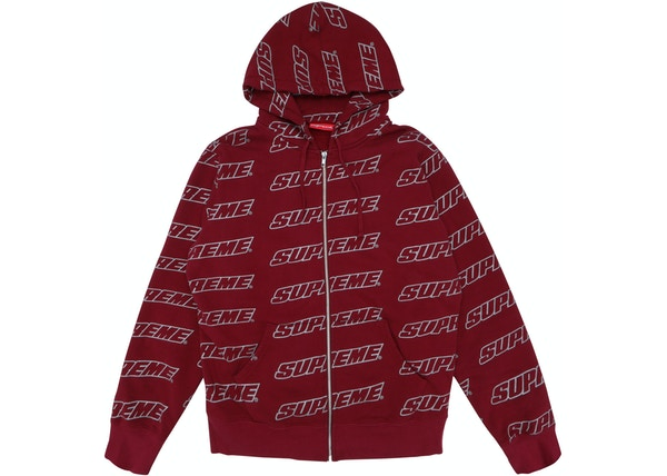 supreme repeat zip up hooded sweatshirt cardinal ss18