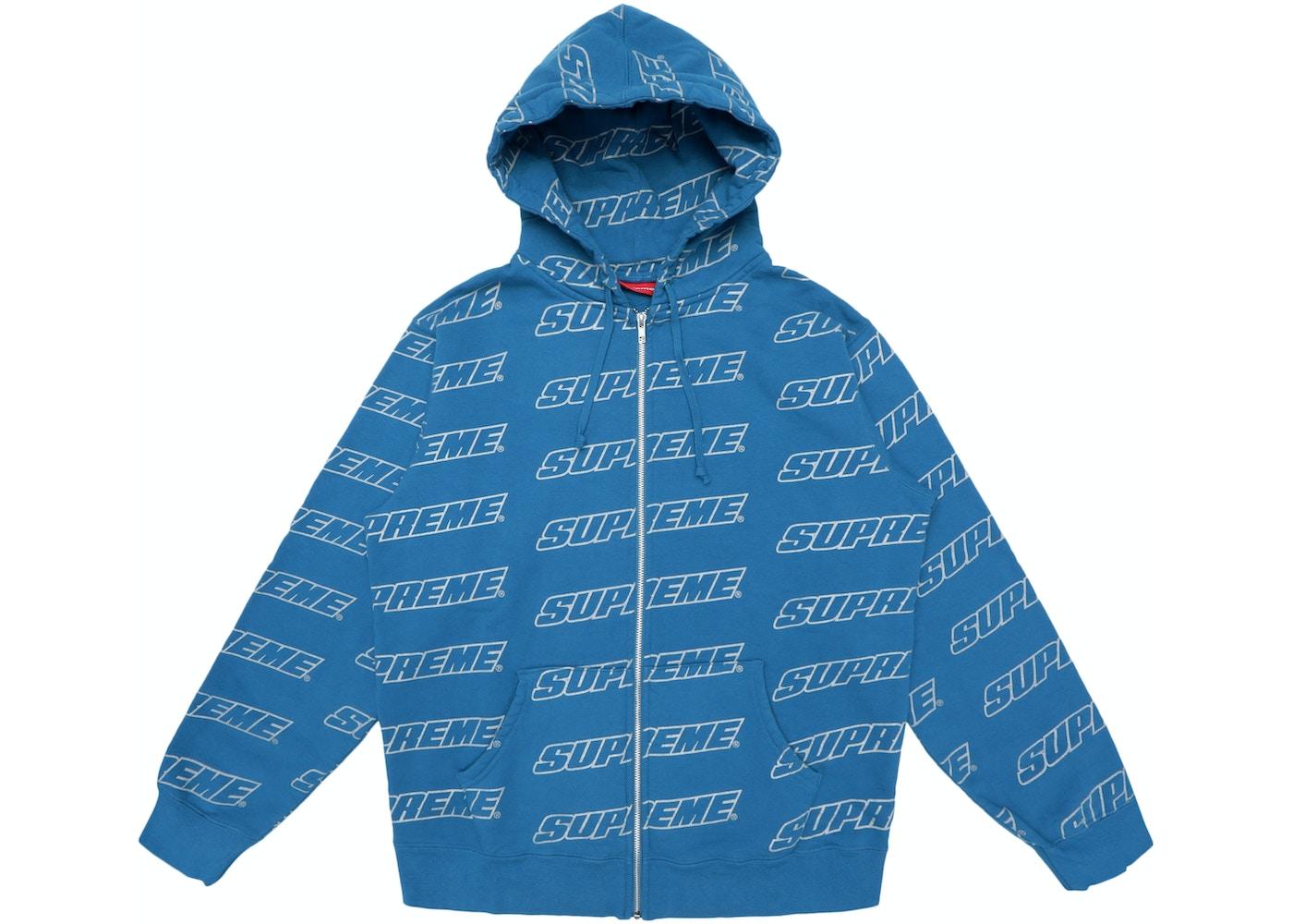 supreme repeat zip up hooded sweatshirt dark aqua ss18
