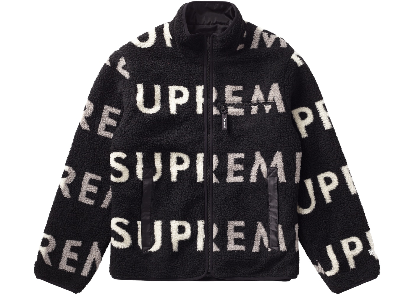 Supreme Reversible Logo Fleece Jacket Black