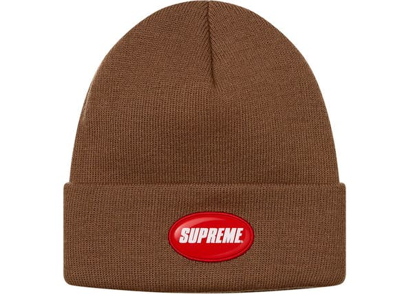 df57853a Supreme Rubber Patch Beanie Brown - SS18