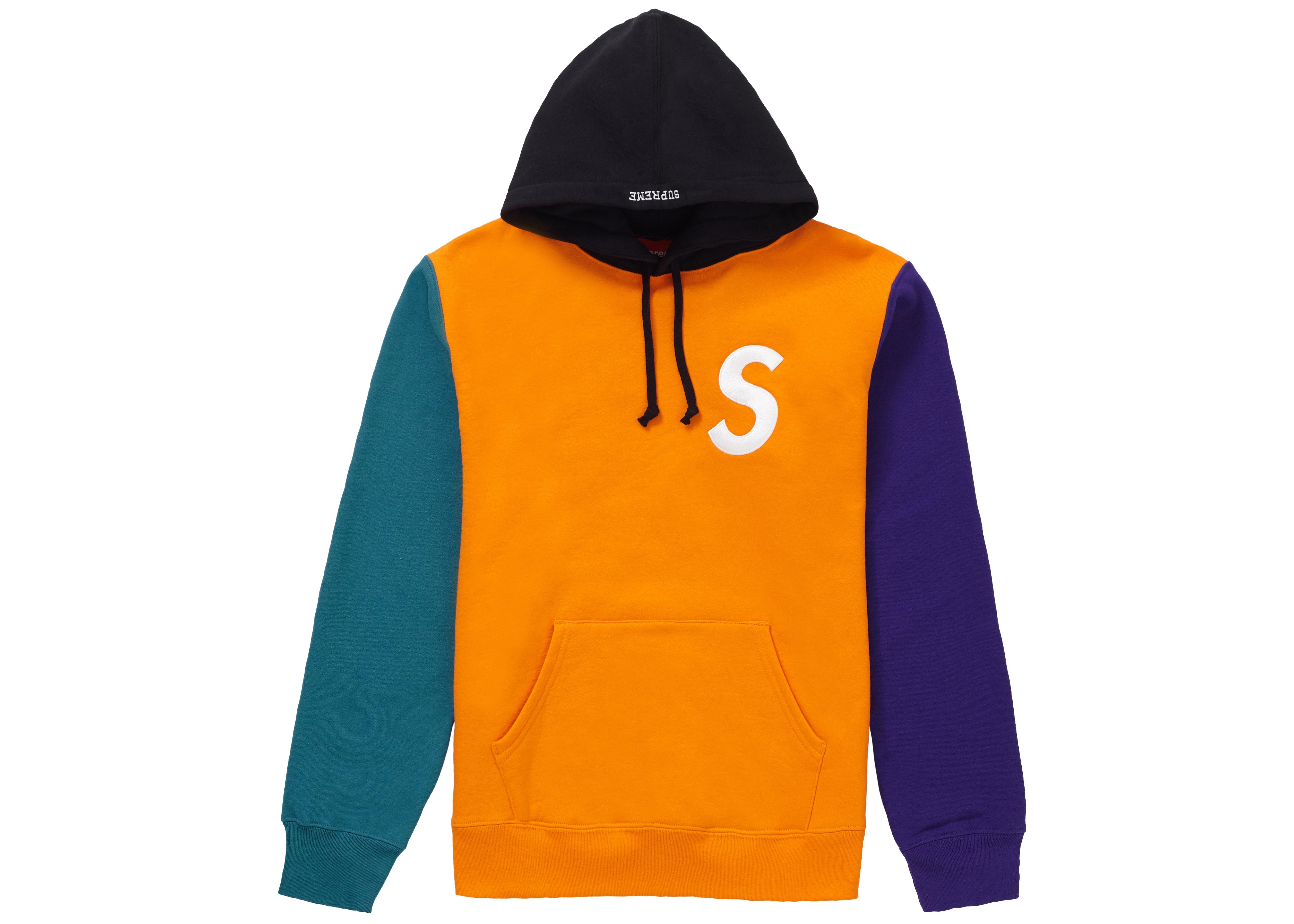 Supreme S Logo Colorblocked Hooded Sweatshirt Orange
