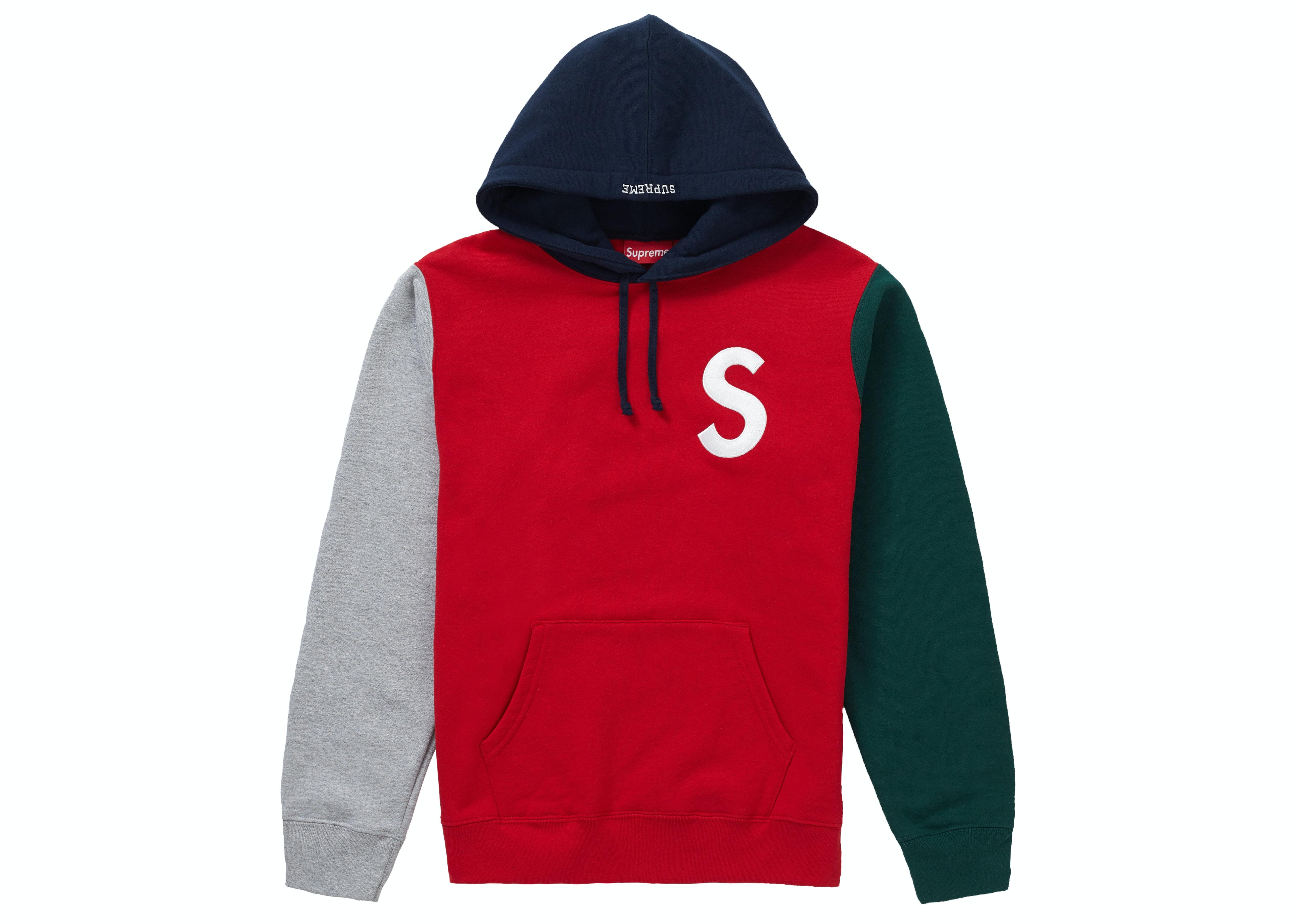 Supreme S Logo Colorblocked Hooded Sweatshirt Red