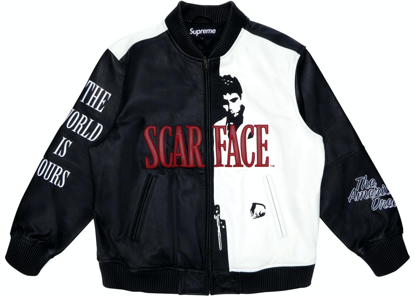 Supeme Jacket Supreme Scarface Embroidered Leather Jacket Black - FW17