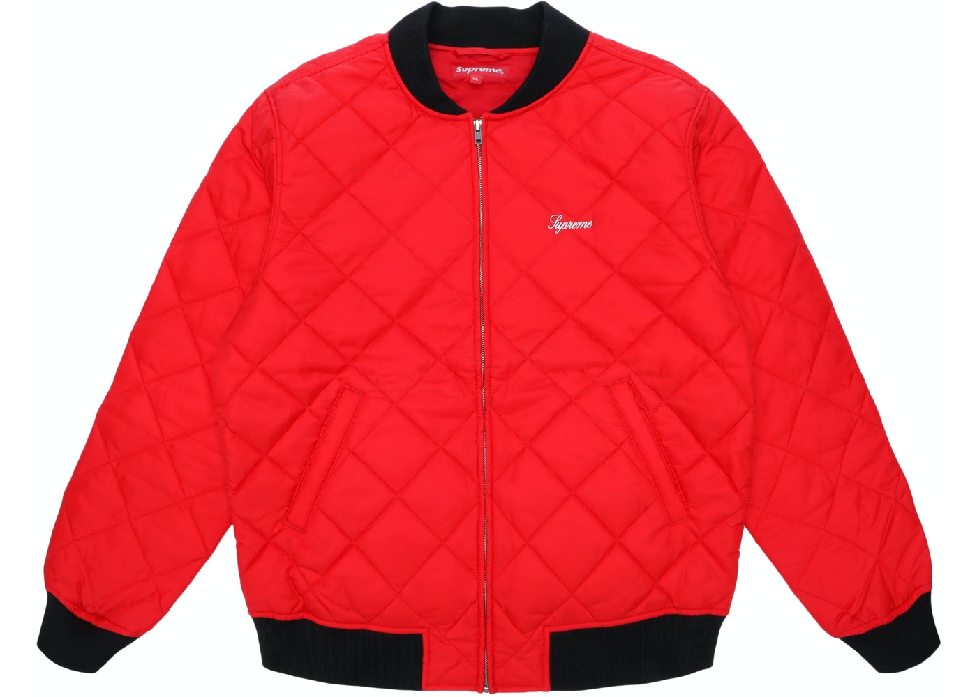 Bedwelming Supreme Sequin Patch Quilted Bomber Jacket Red - SS16 @OV53