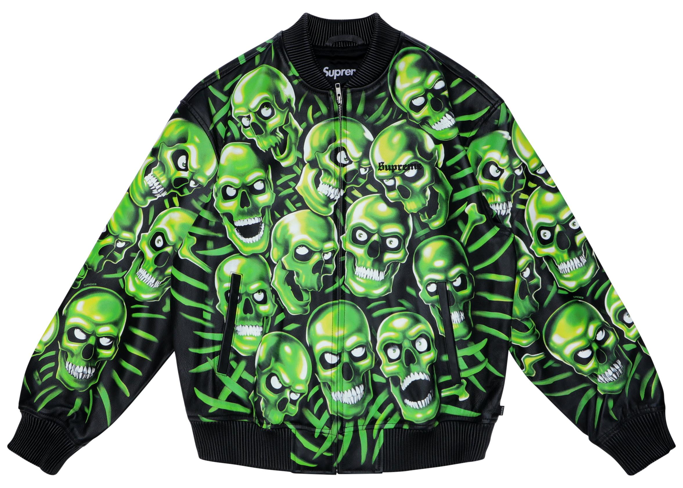 New GREEN SKULL PILE Long Sleeve T Shirt