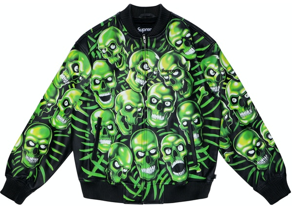 7c7e361a12a Supreme Skull Pile Leather Bomber Jacket Green - SS18