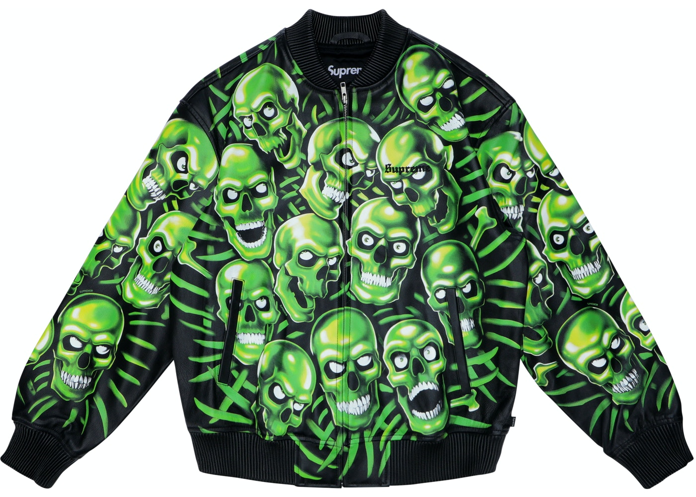 46e45b7b2bb Sell. or Ask. Size S. View All Bids. Supreme Skull Pile Leather Bomber  Jacket Green