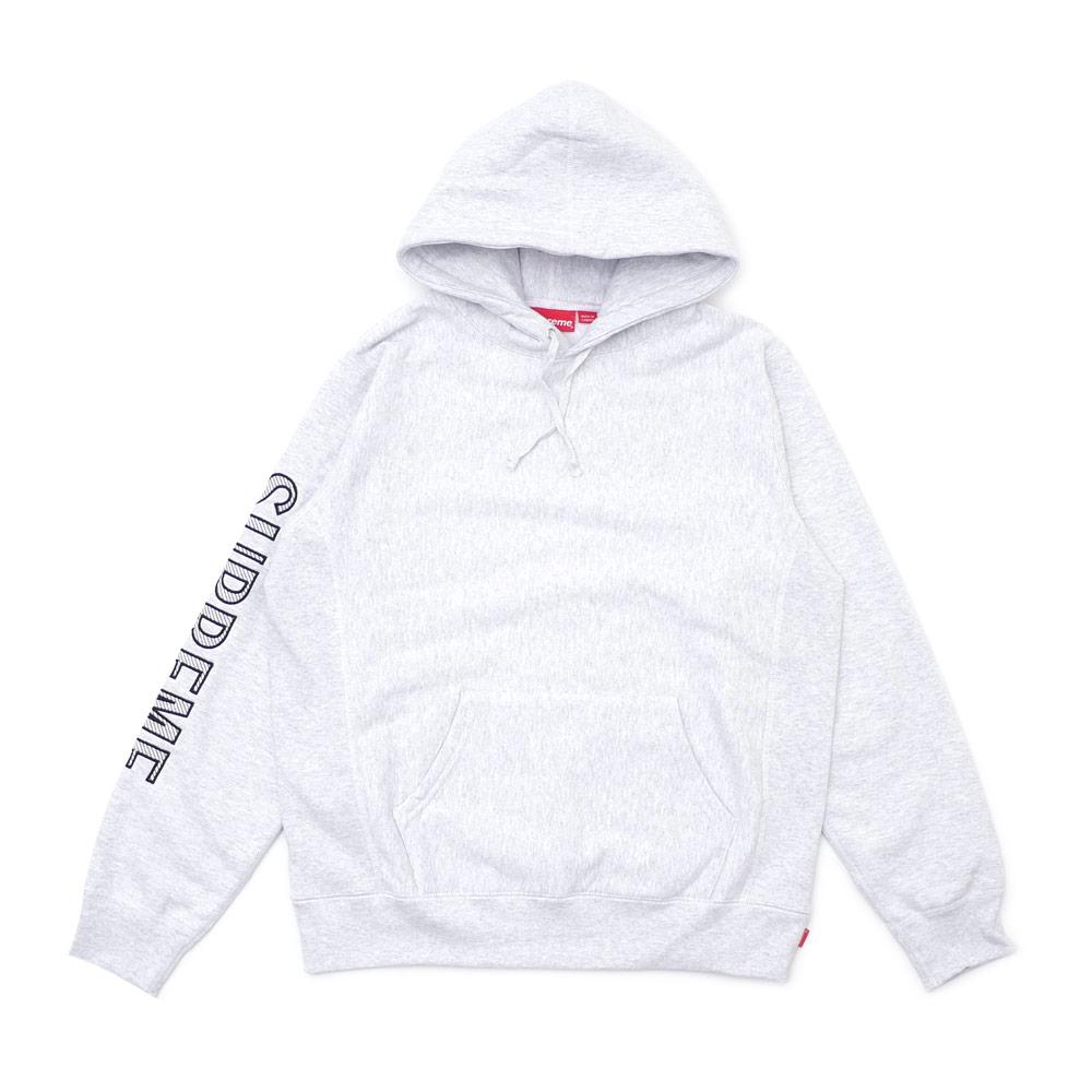 Supreme Sleeve Embroidery Hooded Sweatshirt Ash Grey
