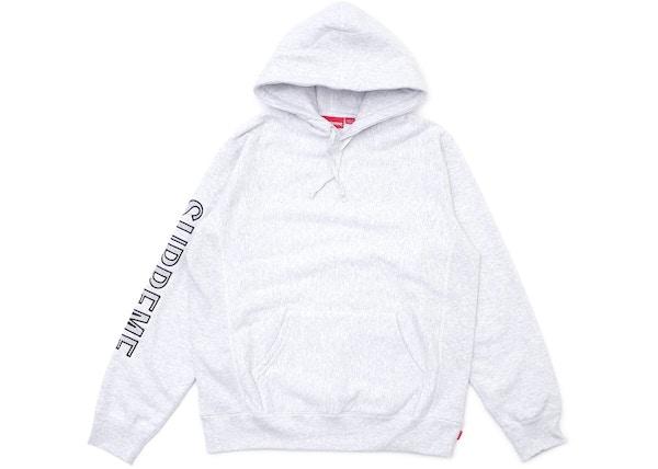 30ac3663edca Supreme Sleeve Embroidery Hooded Sweatshirt Ash Grey