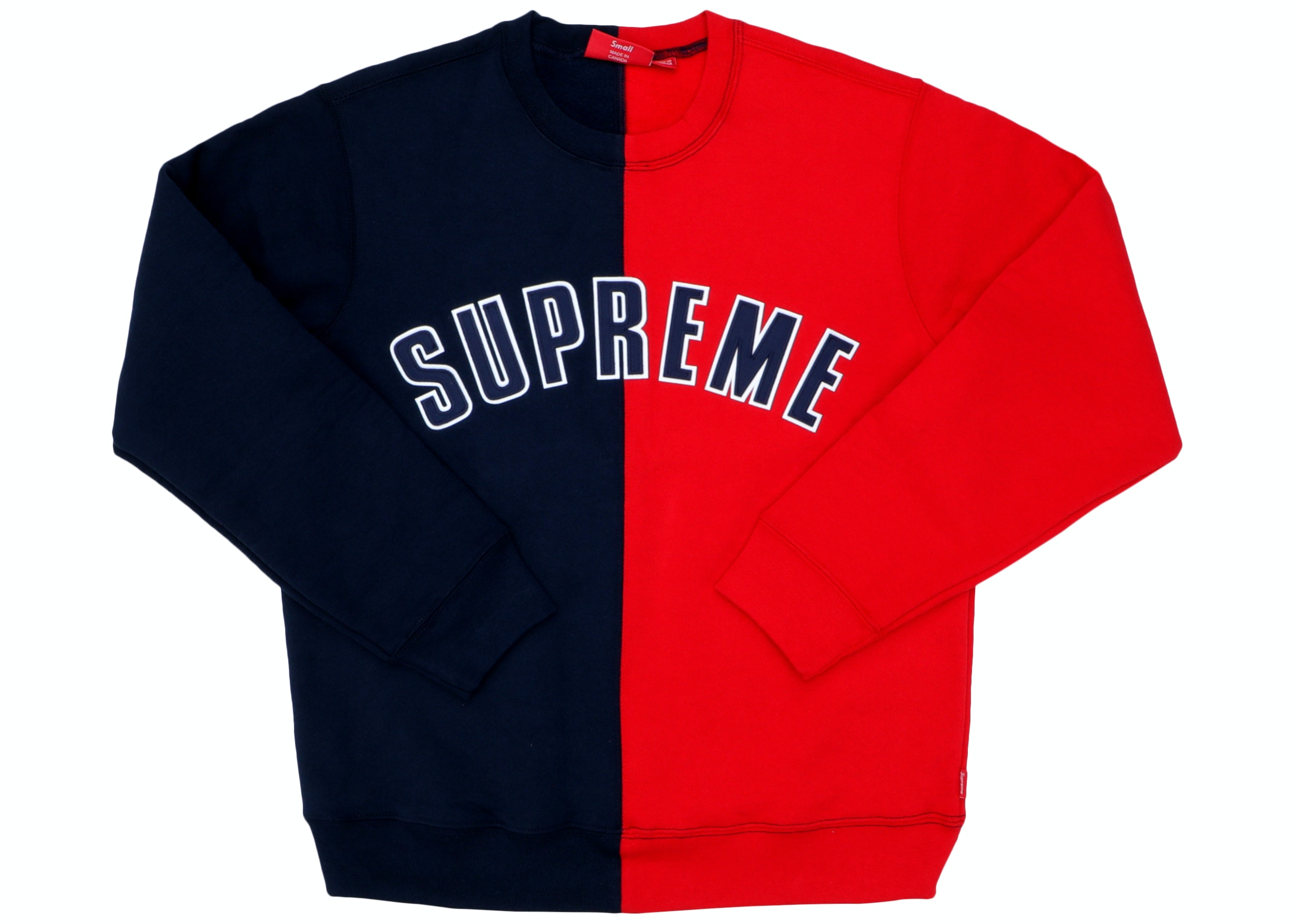 Supreme Split Crewneck Sweatshirt Navy