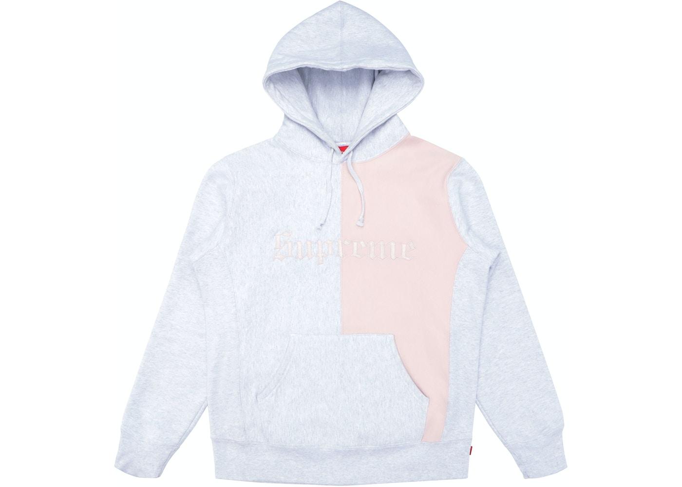 66e1c579fbb HypeAnalyzer · Supreme Split Old English Hooded Sweatshirt Ash Grey