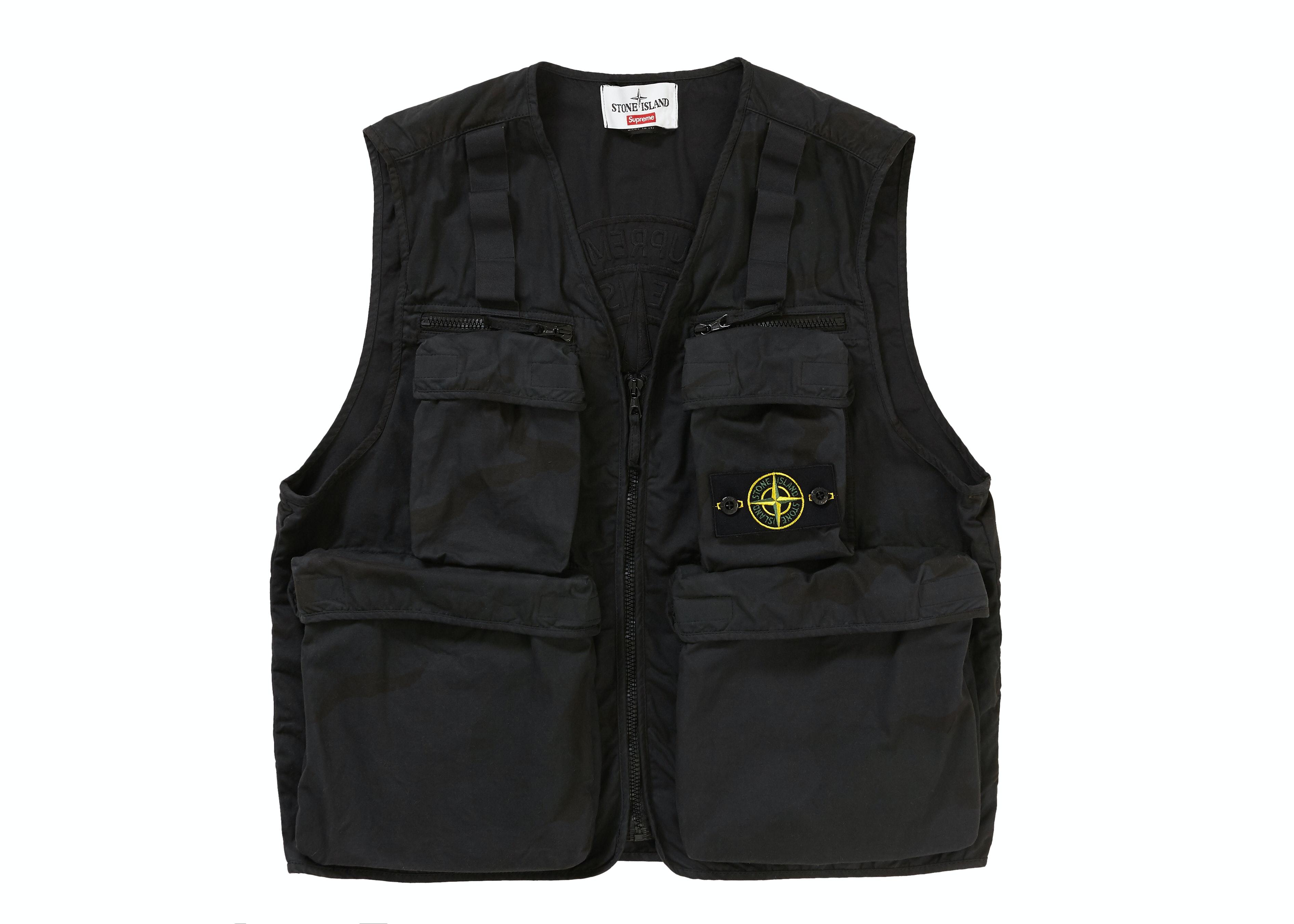Supreme Stone Island Camo Cargo Vest Black Camo