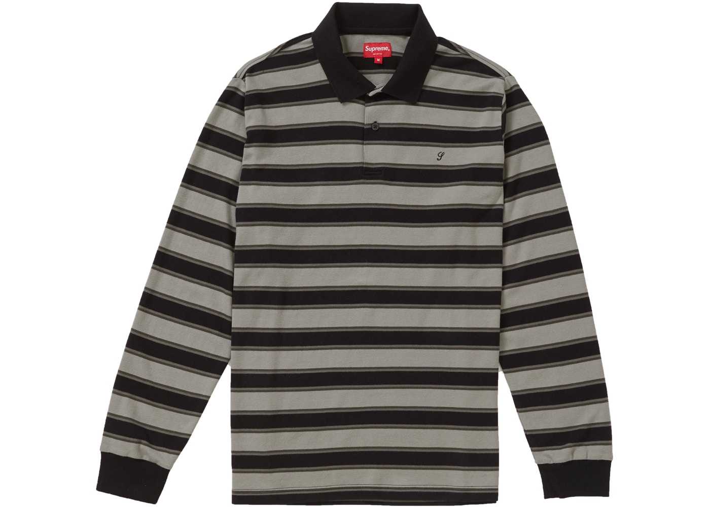 Supreme Striped L S Polo Black