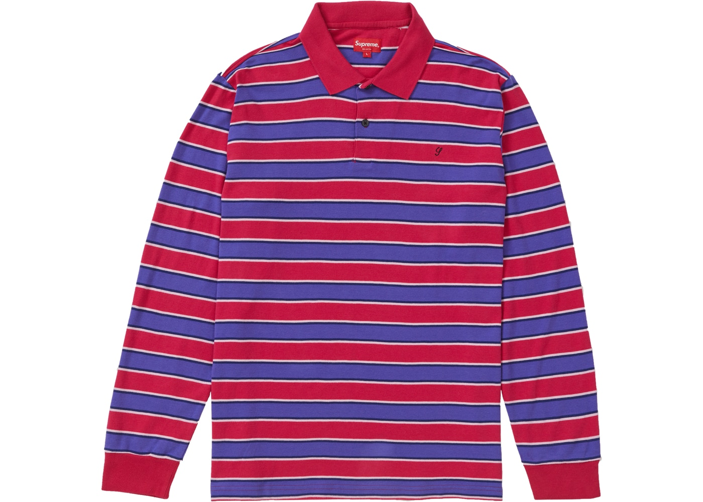 Supreme Striped L S Polo Magenta