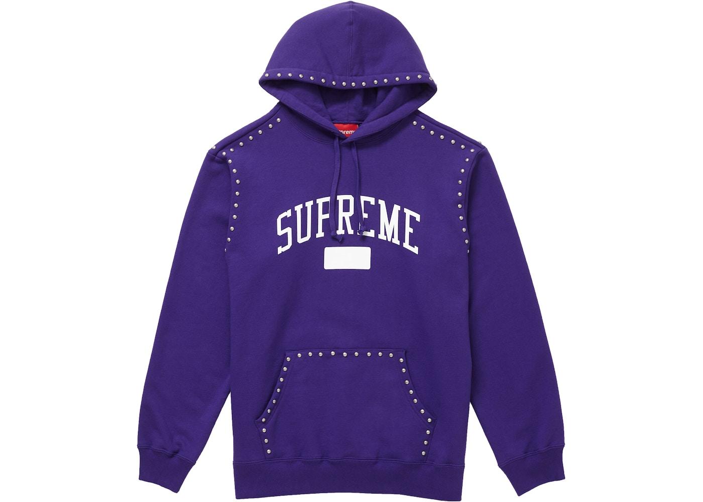 90f130bf8311 Supreme Studded Hooded Sweatshirt (FW18) Purple - FW18