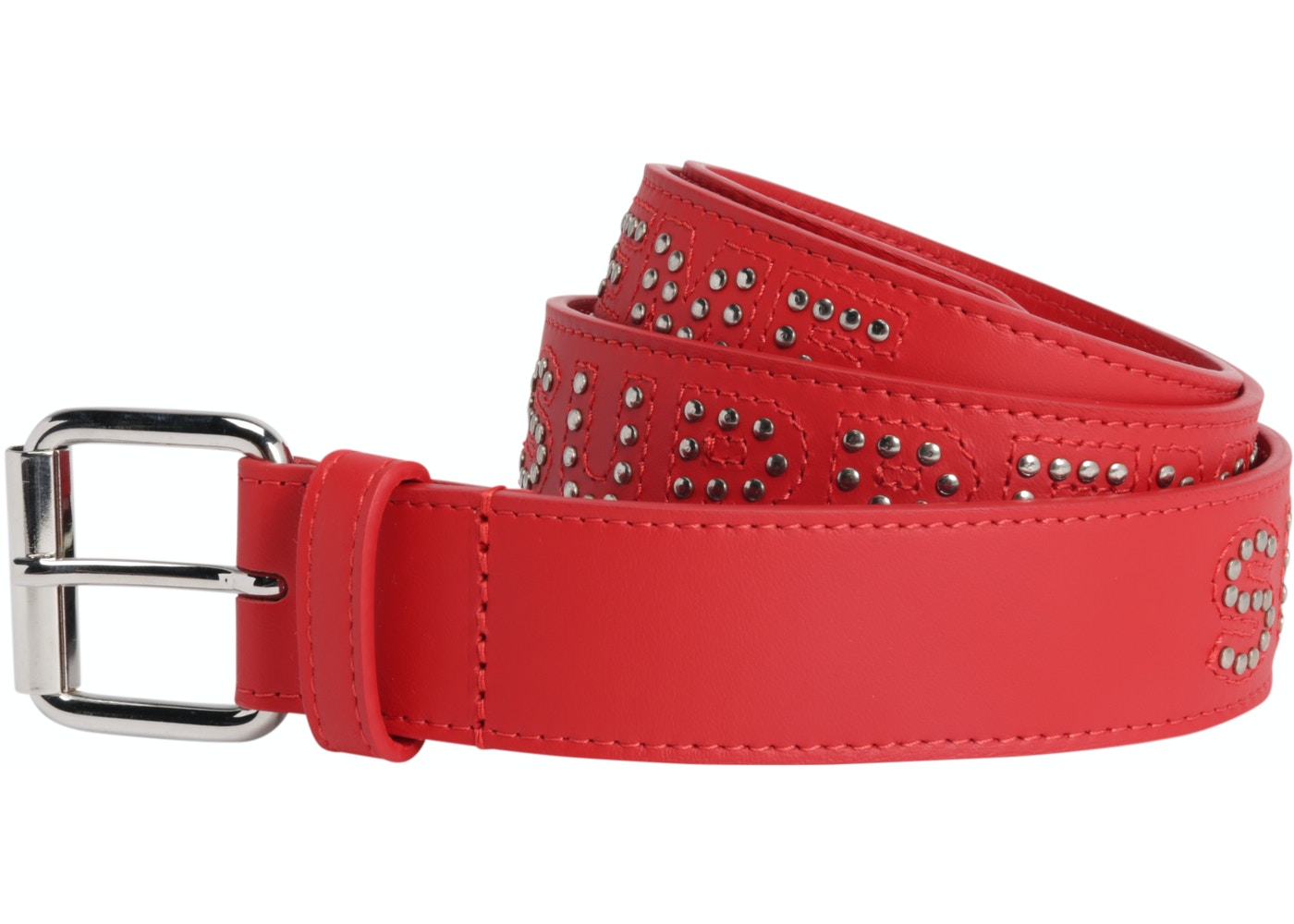 06144bff8ff HypeAnalyzer · Supreme Studded Logo Belt Red