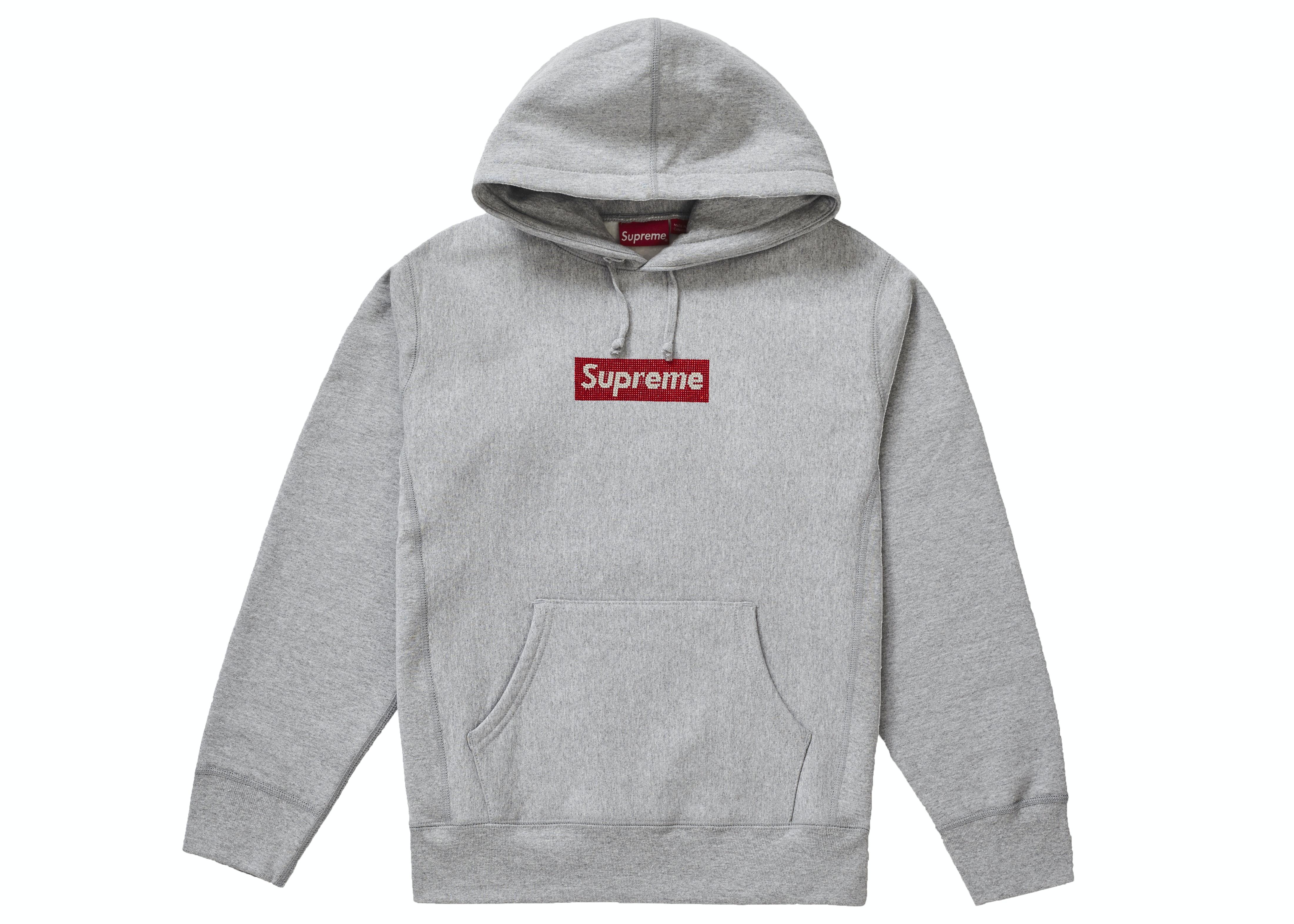 Supreme Swarovski Box Logo Hooded Sweatshirt Heather Grey
