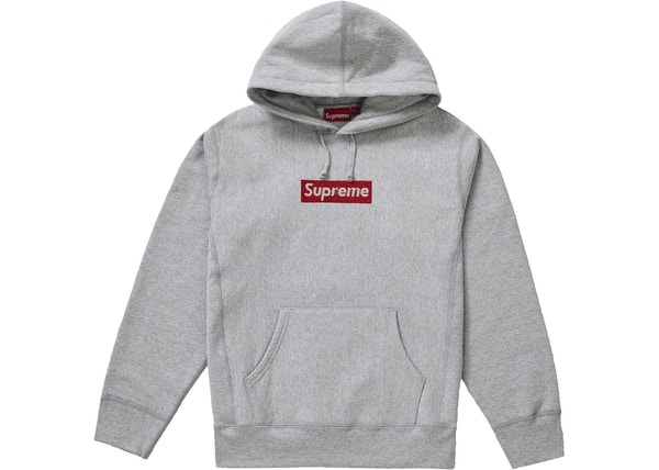 3288d8a6ff08 Supreme Swarovski Box Logo Hooded Sweatshirt Heather Grey