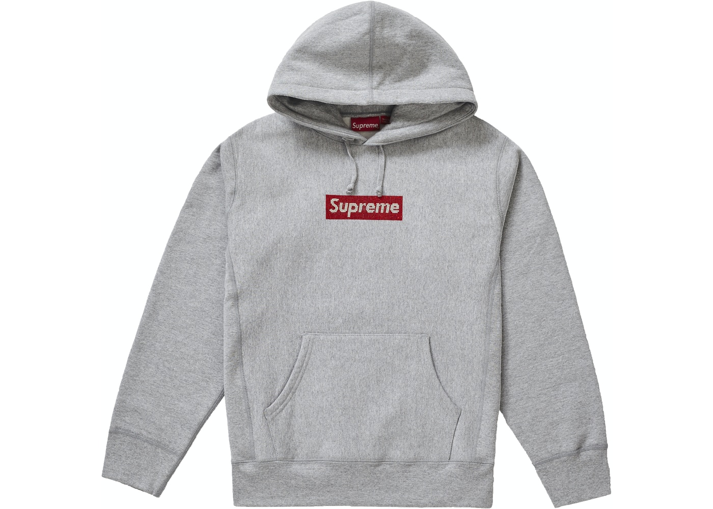 826ad909 Supreme Swarovski Box Logo Hooded Sweatshirt Heather Grey - SS19