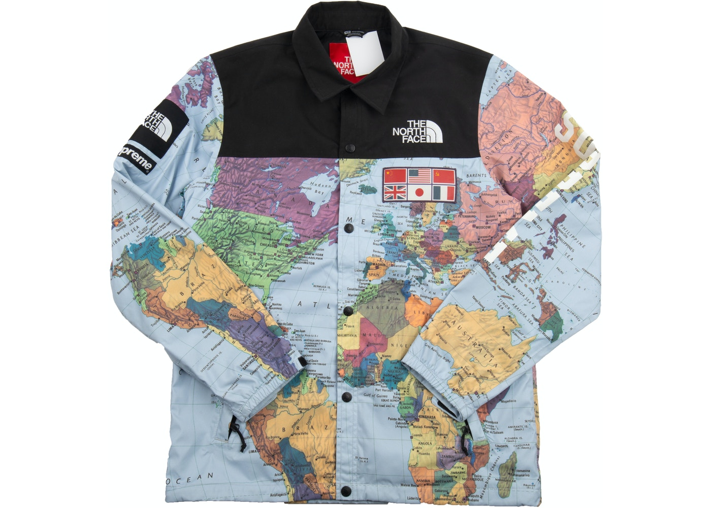 World Map Letter Graphic Print Hooded Jacket RED YELLOW
