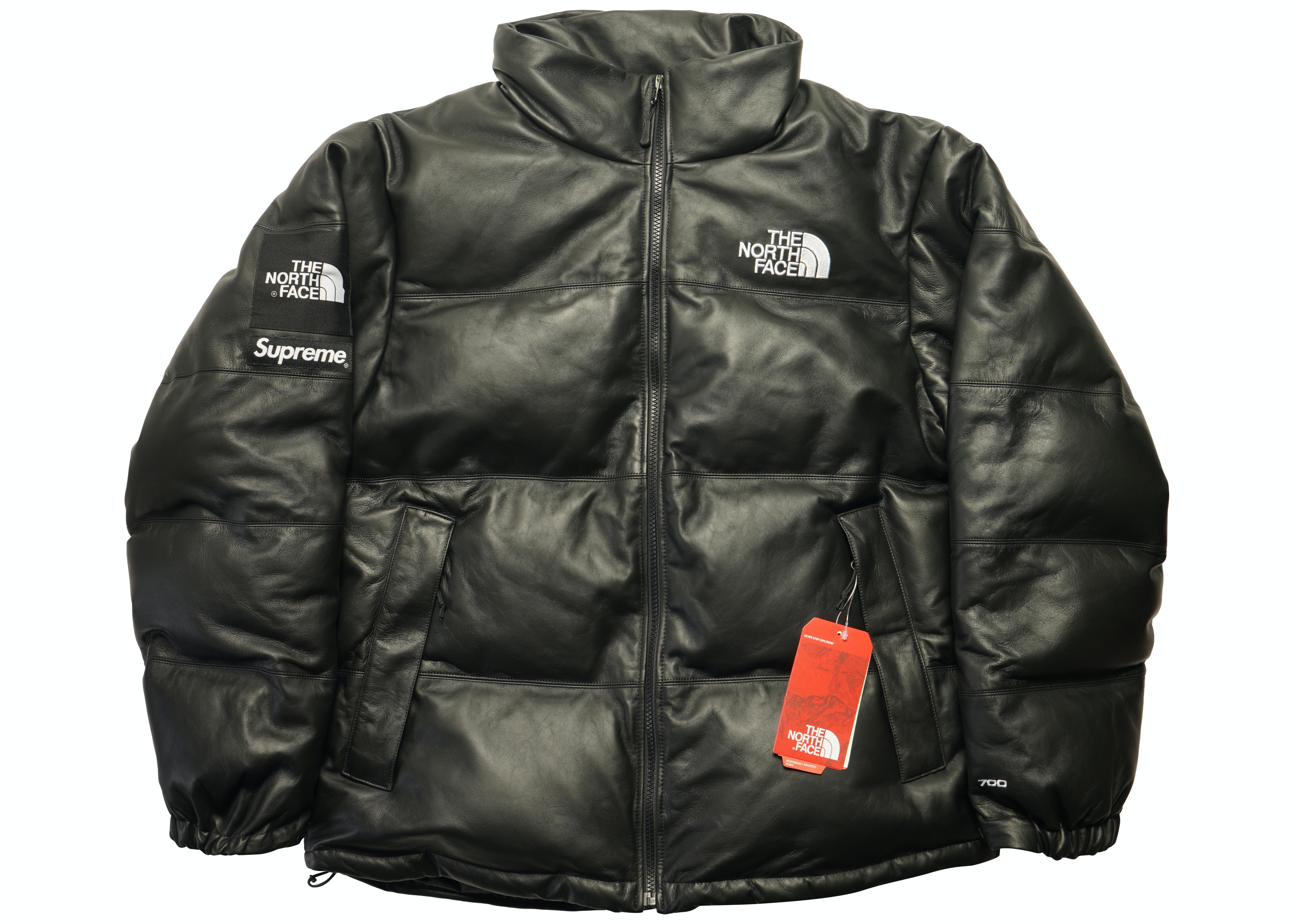 Supreme The North Face Leather Nuptse Jacket Black Fw17