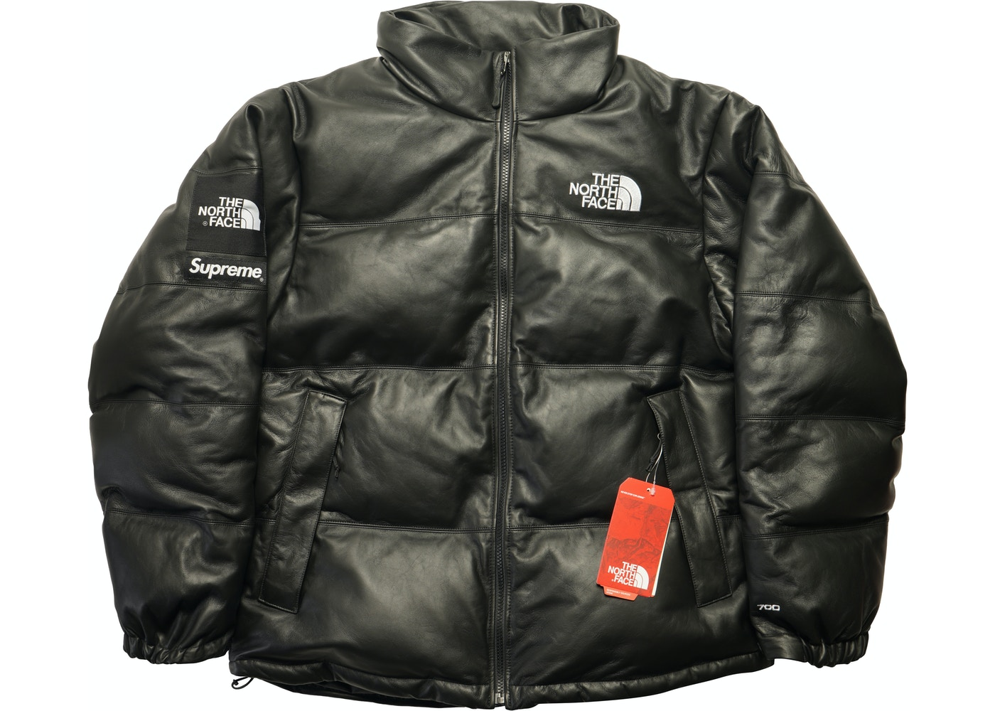 Højmoderne Supreme The North Face Leather Nuptse Jacket Black - FW17 XF-15