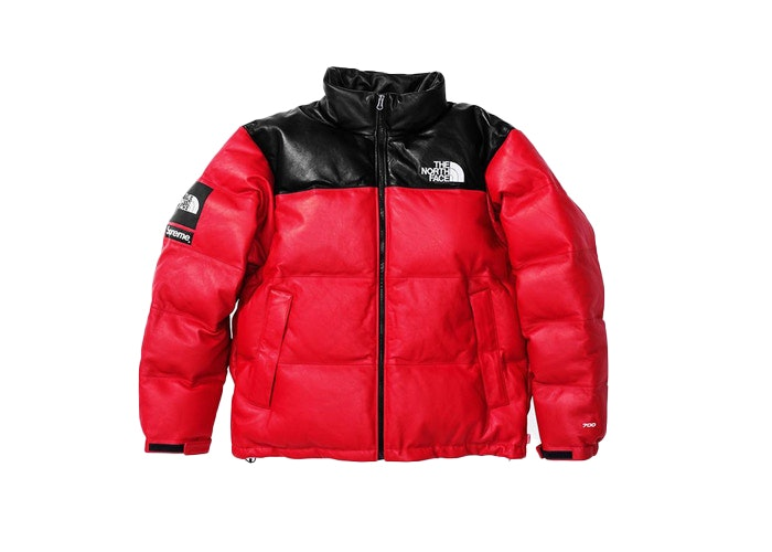 Supreme The North Face Leather Nuptse Jacket Red Fw17