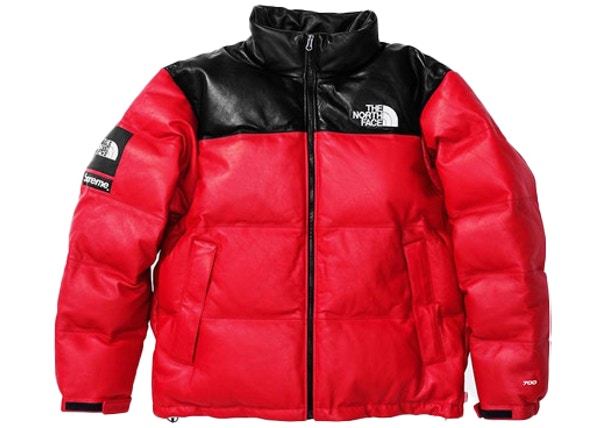 4b0d570ee Supreme The North Face Leather Nuptse Jacket Red