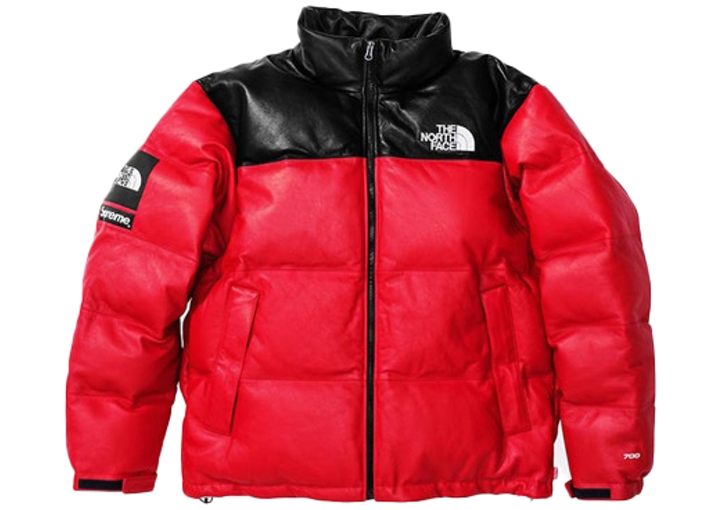 Splinternye Supreme The North Face Leather Nuptse Jacket Red - FW17 YT-77