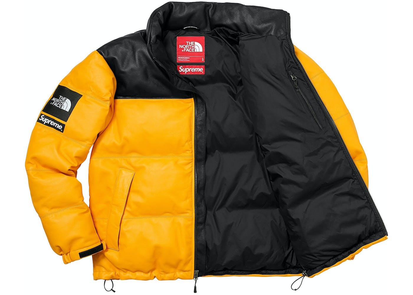 ... Supreme The North Face Leather Nuptse Jacket Yellow ... ca1870e05