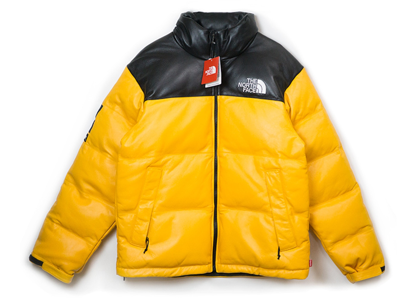 Supreme The North Face Leather Nuptse Jacket Yellow - FW17 43f7e87aa