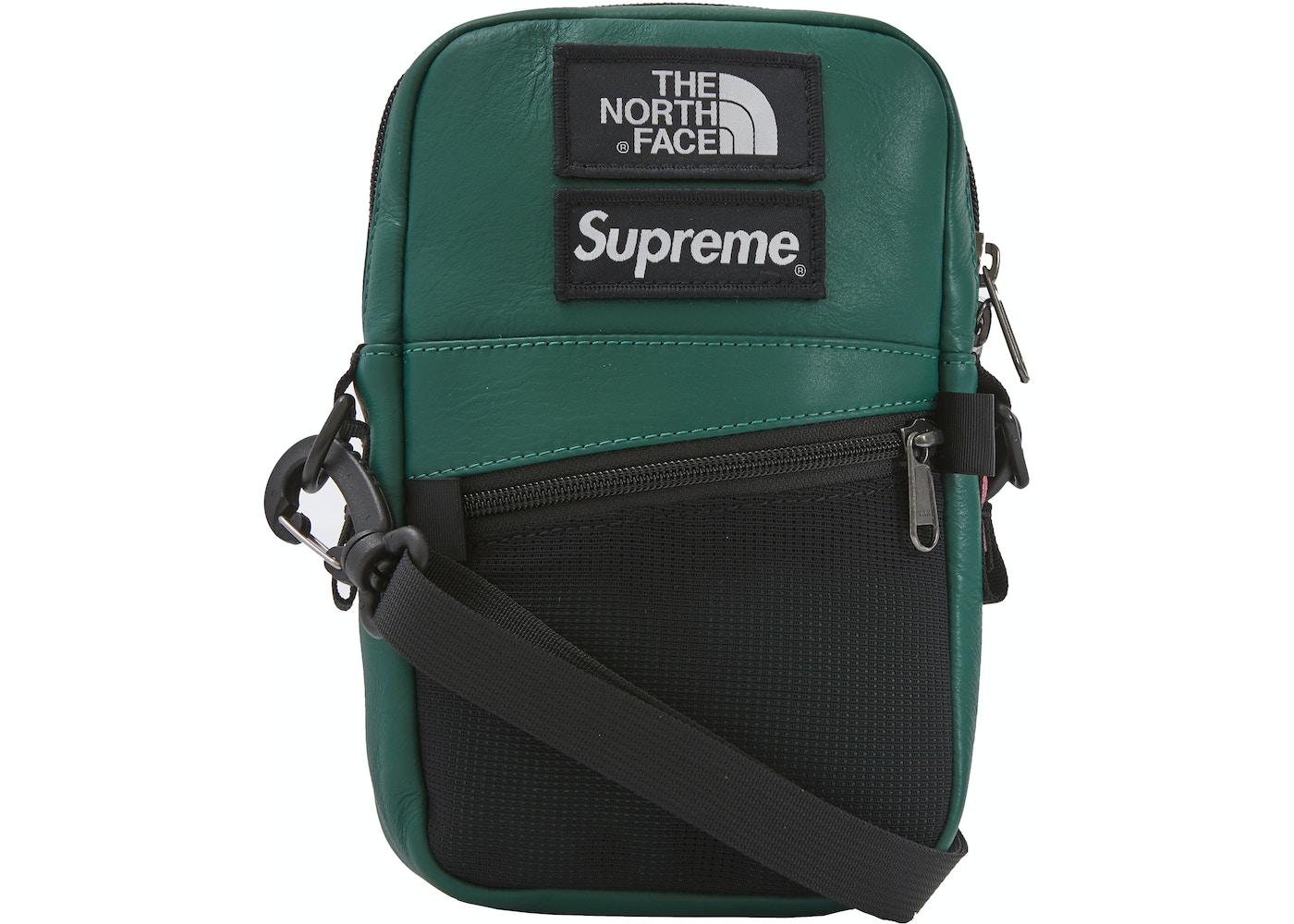 fa00d0f5324 Supreme The North Face Leather Shoulder Bag Dark Green - FW18