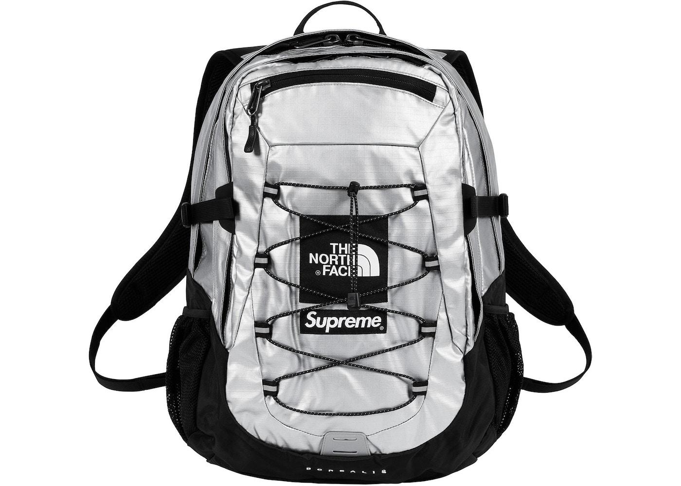 Supreme The North Face Metallic Borealis Backpack Silver