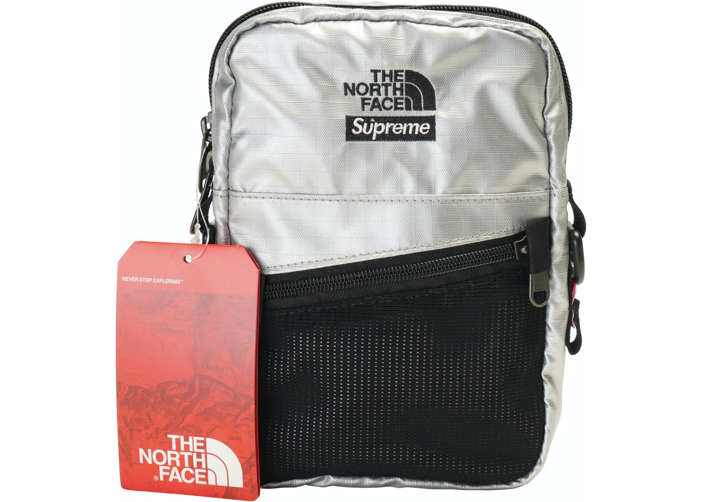 7ea354252 Supreme The North Face Metallic Shoulder Bag Silver