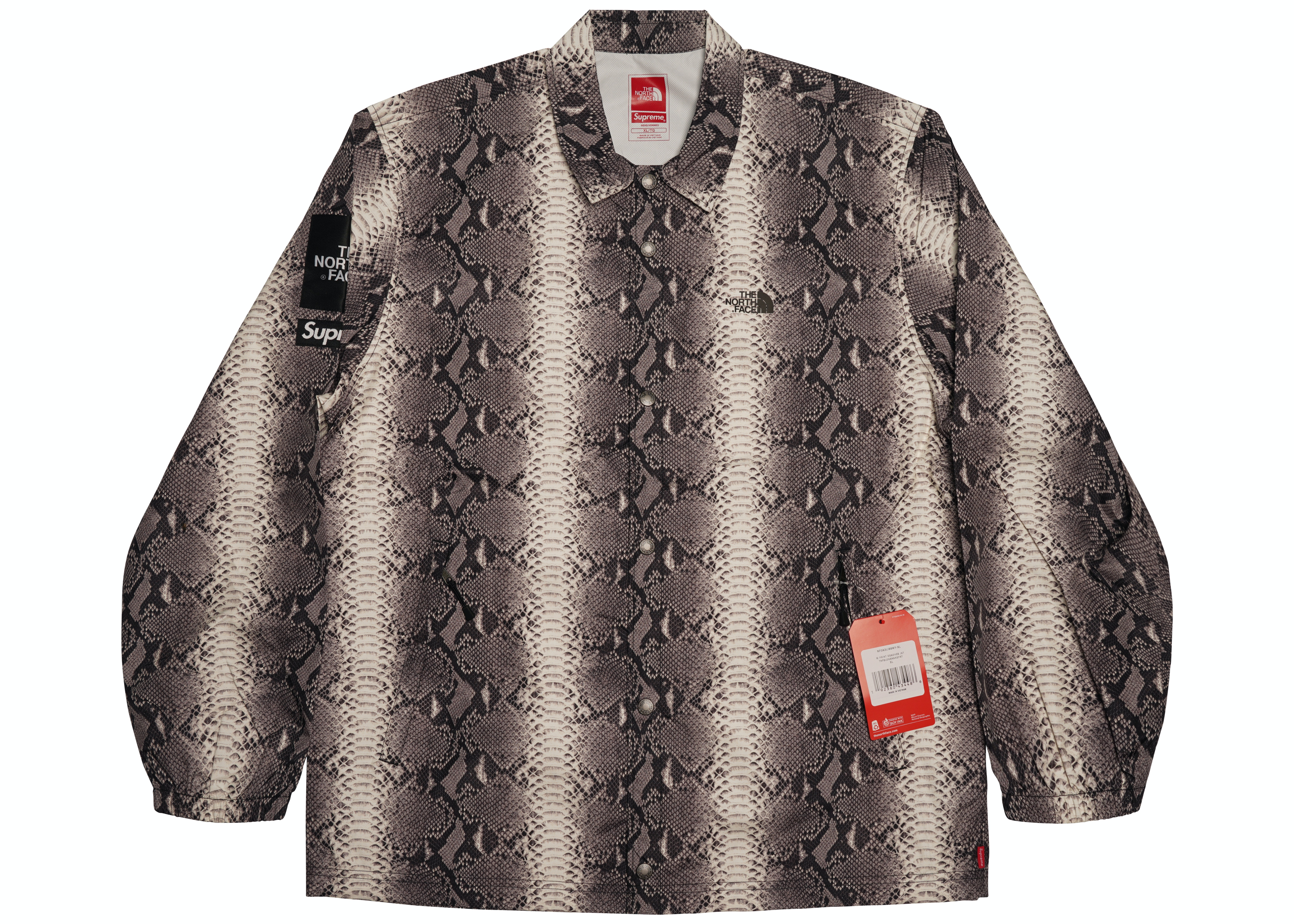 Supreme The North Face Snakeskin Taped Seam Coaches Jacket Black Ss18