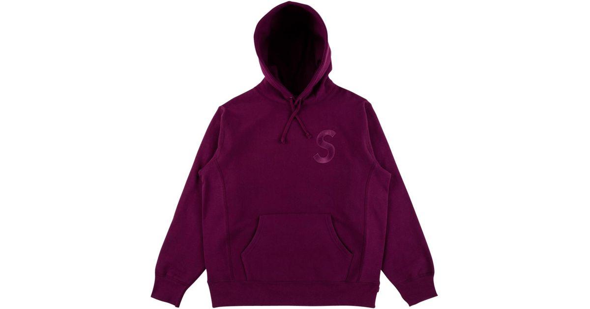 Supreme Tonal S Logo Hoodie Plum