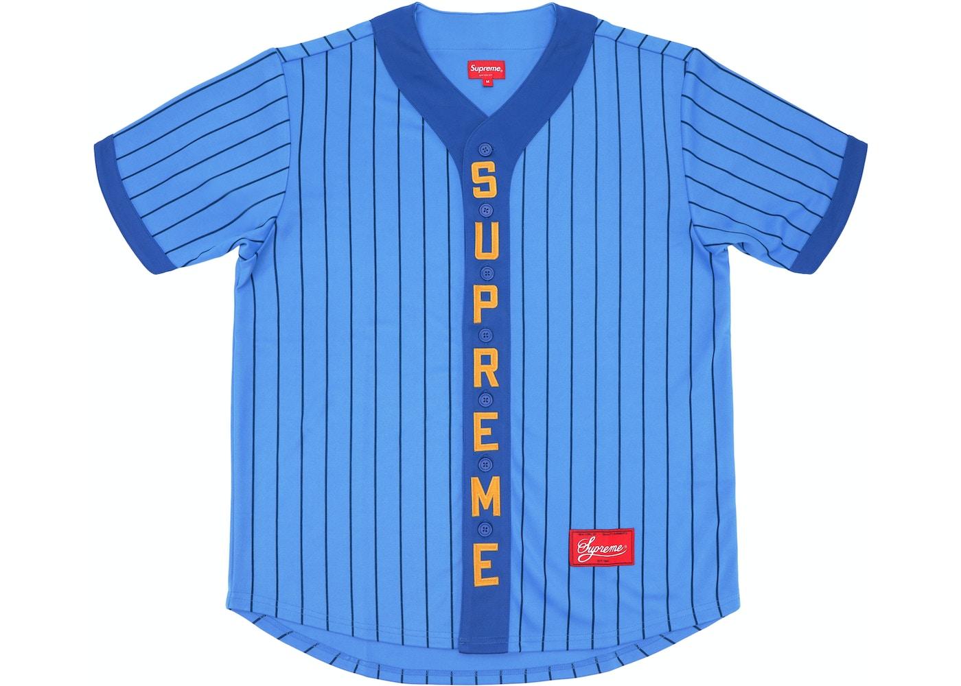 efb7f7e2303 Supreme Vertical Logo Baseball Jersey Blue Yellow - FW18