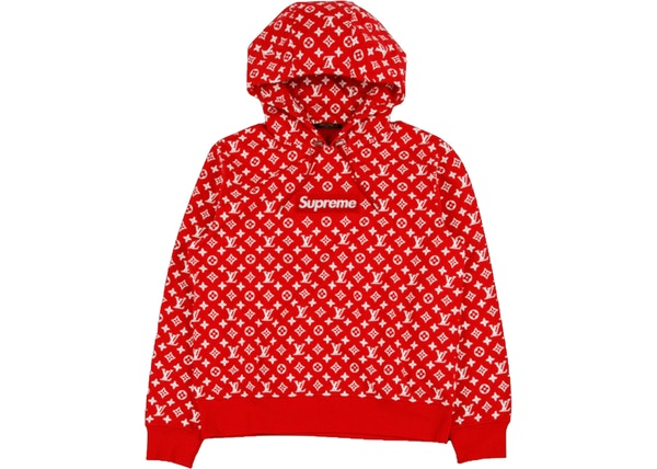 Supreme X Louis Vuitton Box Logo Hooded Sweatshirt Red Ss17