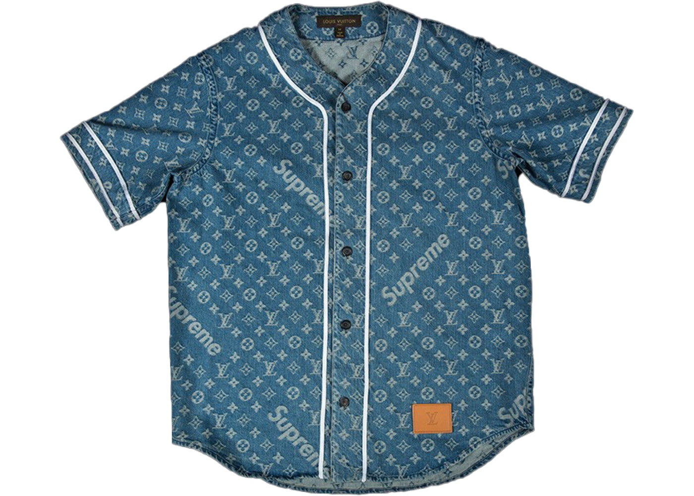 7c420ea15 Supreme x Louis Vuitton Jacquard Denim Baseball Jersey Blue