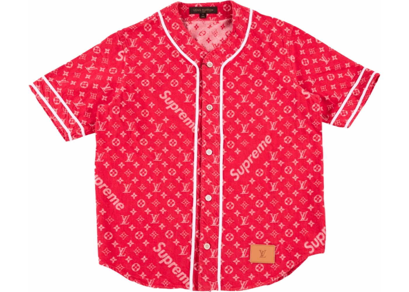 37b31e676253 Sell. or Ask. Size M. View All Bids. Supreme x Louis Vuitton Jacquard Denim  Baseball Jersey Red