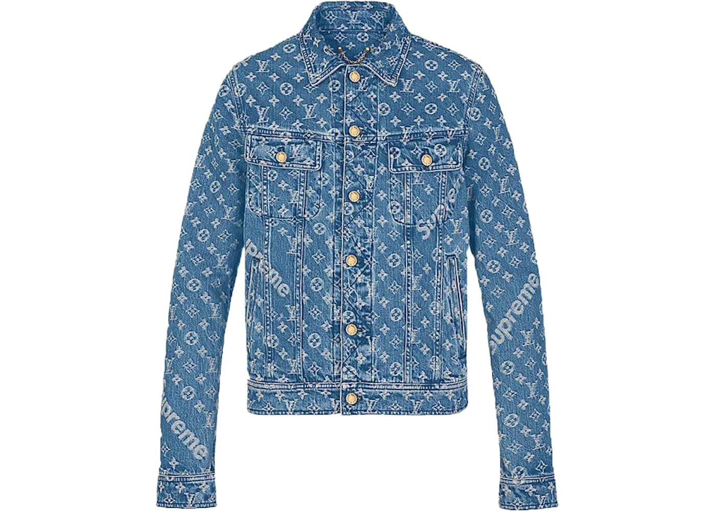 72a2d8975 Supreme x Louis Vuitton Jacquard Denim Trucker Jacket Blue