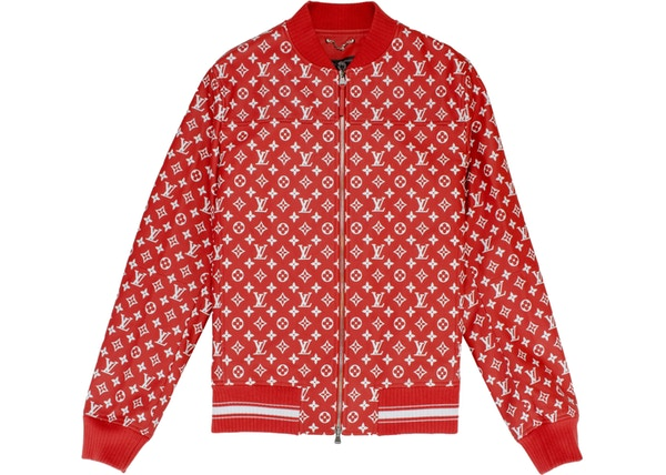 7098361ee04 Supreme x Louis Vuitton Leather Baseball Jacket Red