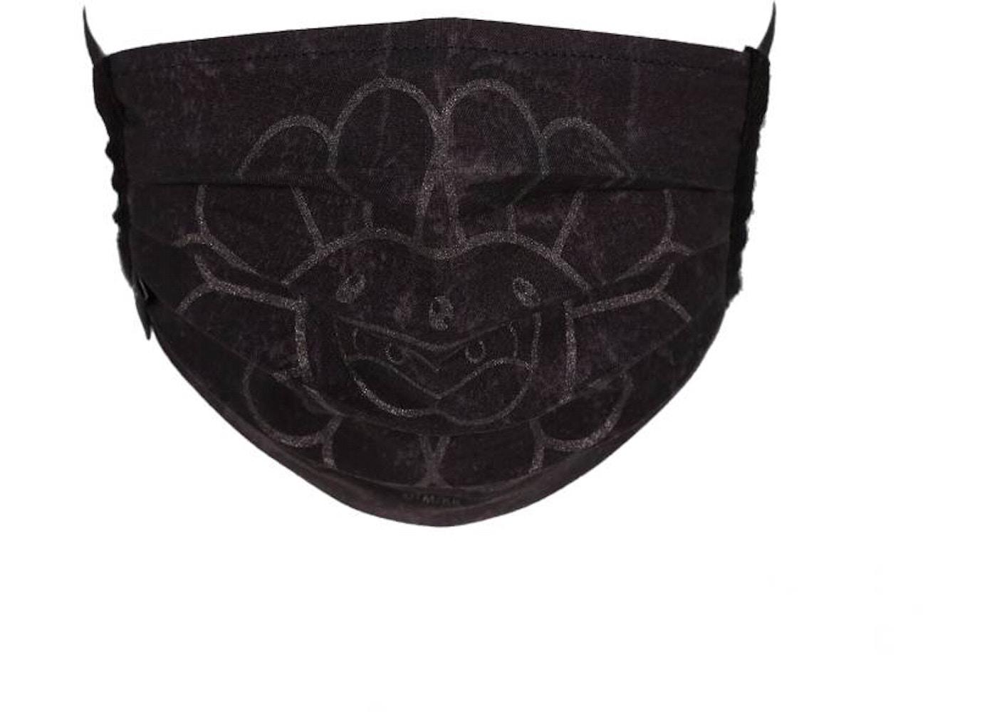 Takashi Murakami Doubleface Flower Face Mask Black Black Ss20