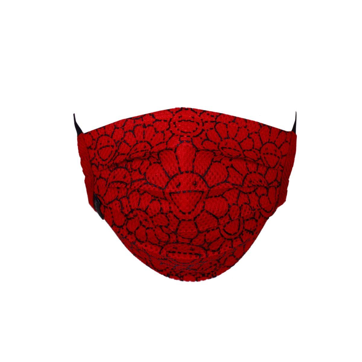Takashi Murakami Mesh Flower Pattern Face Mask Red/Black
