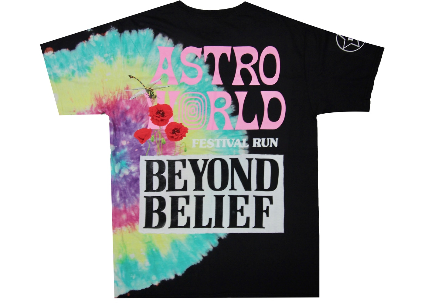 39b24b4386f2 Travis Scott Astroworld Festival Run Tie Dye Tee Black - SS19