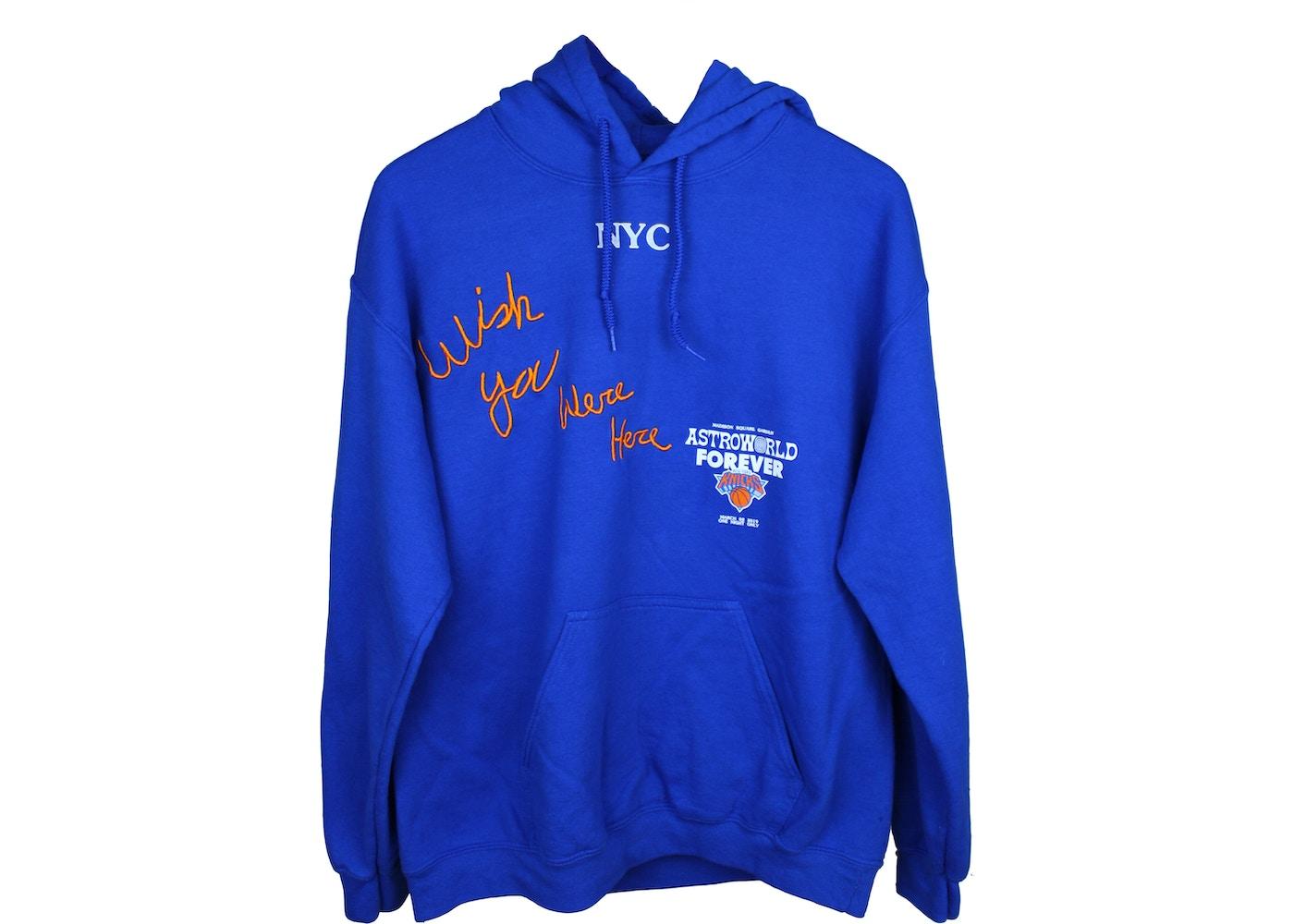 ed86ab0da34f Travis Scott Astroworld MSG Knicks Hoodie Blue - SS19